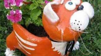 Клумба для цветов в форме кота