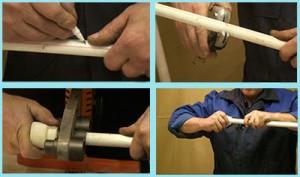 Несколько этапов сварки полипропиленовых труб