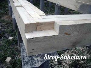 Образец обвязки на столбах