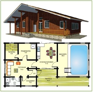 Схема планировки бани с бассейном