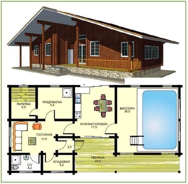 Схема планировки бани с
