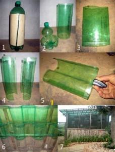 Технология резки бутылок - забор из пластикового полотна