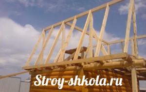 Возведение крыши для бани