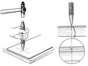 На рисунке изображен процесс удара плитки кернетом