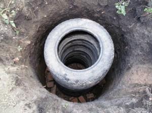 Сливная яма из покрышек вид сверху