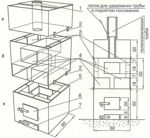 Схема котла из листового
