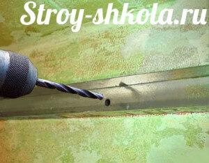Образец крепления металлического UD профиля