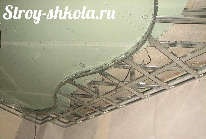 Как сделать подвесные потолки из гипсокартона своими