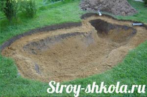Подсыпаем яму песком и подводим трубы к насосу
