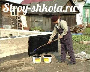 Процесс гидроизоляции фундамента