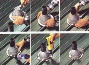 Процесс гидроизоляции трубы круглого сечения