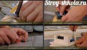 Работы связанные с припаиванием проводов и подключением к терморегулятору