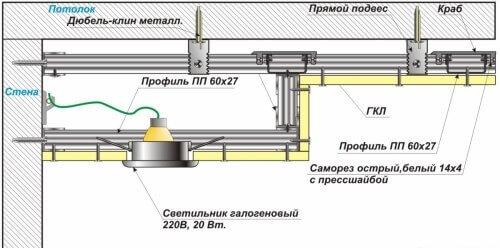 Схема освещения двухуровневого