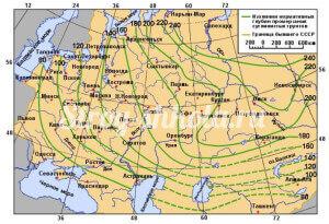 Таблица - глубина промерзания грунта в регионах России