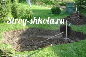 Выкапываем яму вглубь  и делаем края