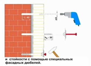 Процесс фиксации пенополистирола с помощью дюбелей к стене