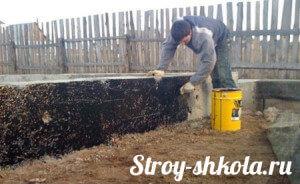 Процесс гидроизоляции обмазочным способом