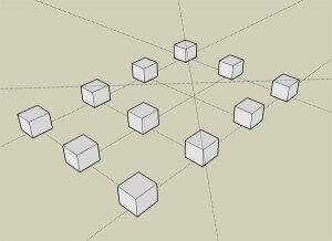 Процесс разметки площадки с помощью колышков и нитки
