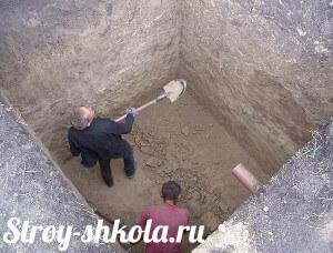 Процесс рытья котлована под погреб