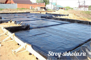 Процесс укладки рулонной гидроизоляции фундамента