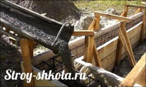 Процесс заливки бетона в фундамент