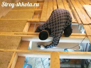 Установка лагов для верхнего этажа