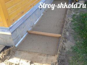 Поверх геотекстиля насыпают слой песка и трамбуют