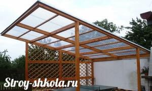 Прямая крыша из поликарбоната