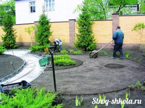Процесс прокатки почвы для газона специальным катком