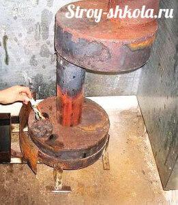 Процесс розжига печи на отработке