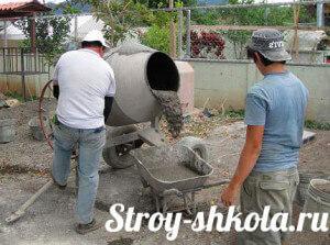 Процесс смешивания бетона