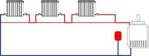 Схема отопления - Ленинрадка предусматривающая байпас