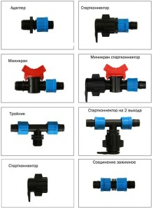 Элементы для стыковки системы полива