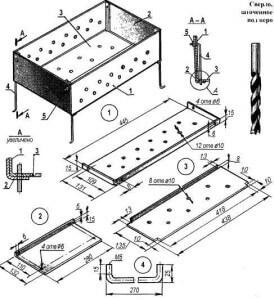 Конструкция металлического мангала