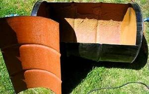 Металлический мангал из бочки