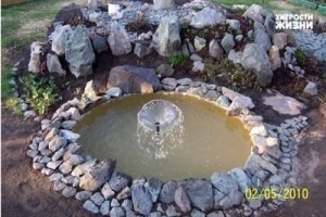 Устанавливаем на дно пруда шланг и делаем небольшой фонтан