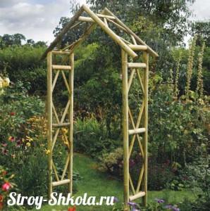 Деревянная садовая арка из бруса