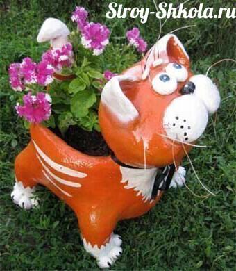 Клумба для цветов своими руками в форме кота