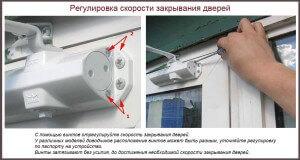 Регулировка скорости закрывания дверей
