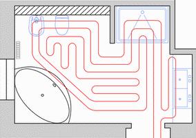 Схема укладки труб водяного теплого пола в ванной комнате