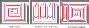 Схемы укладки труб для водяного теплого пола