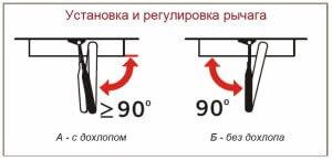 Установка и регулировка рычага (с дохлопом) и без дохлопа