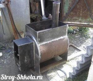 Самодельная металлическая печь для бани