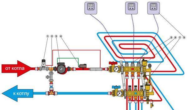 Схема подключения нагреваемого