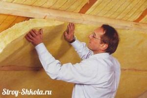Крепление минеральной ваты к потолку