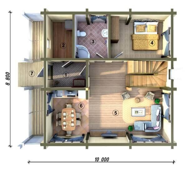 Проект двухэтажного дома изнутри
