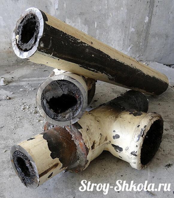 Чугунные трубы более всего подвержены засору