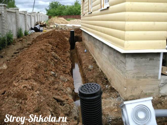 Монтаж труб ливневой канализации вокруг загородного дома