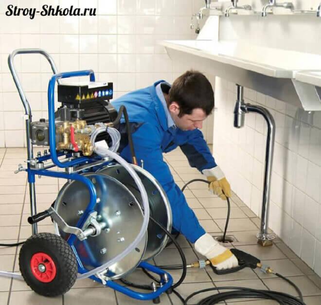 Промывка внутренней канализации гидродинамической машинкой