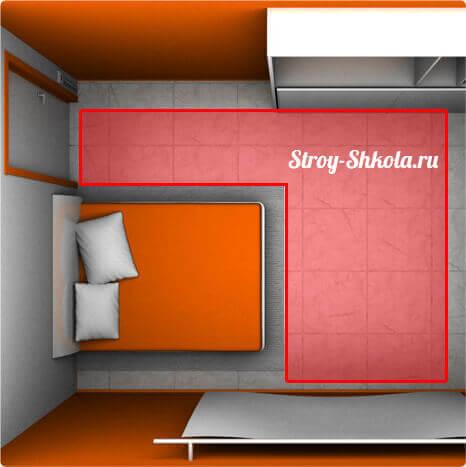 Пример расположения нагревательных матов в квартире